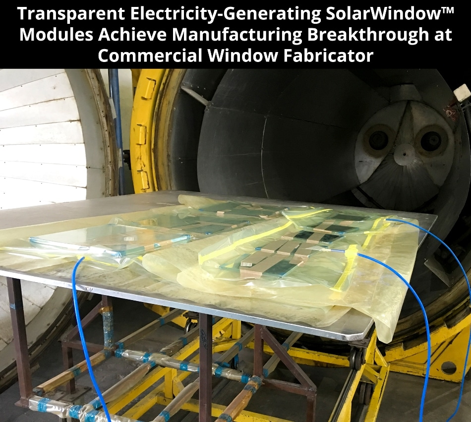 SolarWindow Successfully Processes Electricity-Generating Glass at Commercial Window Fabricator